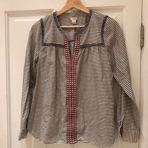 J. Crew Embroidered Shirt in blue red white small